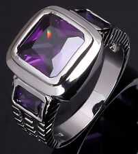 Size 8,9,10,11,12 Mens Jewelry Purple Amethyst 18K White Gold Filled Ring Gift