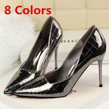 Classic Women Pumps Pointed Toe Stilettos Slip On High Heel Wedding Party Shoes