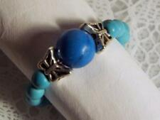 "CYNTHIA LYNN ""FLYING COLORS BLUE TURQUOISE HOWLITE SILVER BUTTERFLY STRETCH RING"