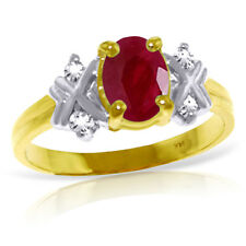 14K Solid Gold Ring Diamonds & Ruby