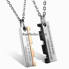Stainless Steel LOVE Puzzle Men's Women's Couple's Pendant Necklace Promise Gift