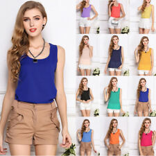 Korean Women Sleeveless Solid Color Vest Tank Chiffon Tops Blouse T shirt