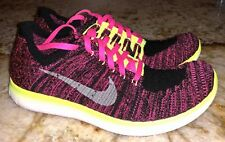 NIKE Free RN Flyknit Black Pink Pow Volt Running Shoes NEW Youth Girls Sz 6 6.5