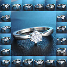 18K White Gold Plated Ring White Sapphire Engagement Wedding Jewellery Size 7,8