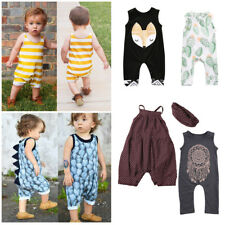 Toddler Baby Girl Boy Sleeveless Dinosaur Romper Jumpsuit Outfits Clothes Set