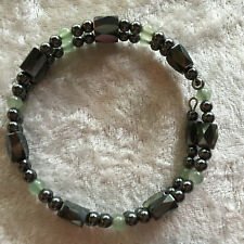 Healing Magnetic Hematite and Gemstone Beaded Memory Wire Wrap Bracelets