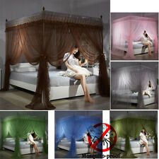 4 Corner Post Bed Canopy Mosquito Net Full Queen Size Netting Bedding&Post Frame