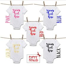 Your Text Here Baby Bodysuit, Personalised Message Baby Grow Body Suit Vest Gift