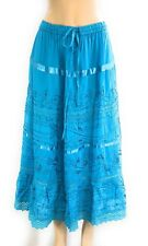 100% Cotton Women's Boho Lace Trim Embroidered Tiered Peasant Sweep Skirt NWT S
