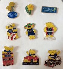 Mixed Collection job lot of 9  assorted Marie Curie Cancer charity pin badges