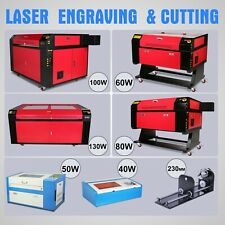 40W/50W/60/80W/100W/130W CO2 Laser Engraving Machine Cnc Rotary Axis Engraver US