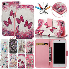 For iPod Touch 5th / 6th Patterned Bling Diamonds Leather Case Card Strap Cover