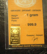 1 gram Istanbul Refinery solid 999.9 gold bar with COA. As supplied from mint