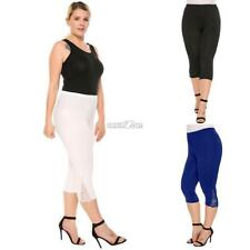 Women Casual Lace Solid Natural Elastic Waist Cropped Pants RR6