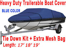 V-Hull Fish Ski I/O 17' 18' 19' Boat Trailerable Cover All Weather Blue Color FT