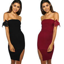 Women Sexy Strapless Off Shoulder Bodycon Slim One Side Slit Package Hip Dress