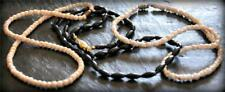 Vintage Hawaiian Necklace Lot Black Coral Conch Shell Bead Pikake Flower Lucoral