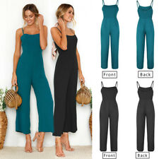 US Womens Summer Holiday Backless Wide Leg Strappy Jumpsuit Romper Playsuit