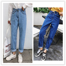 Women's Asymmetrical Waist Relaxed Fit Tapered Leg Washed Denim Pants Jeans