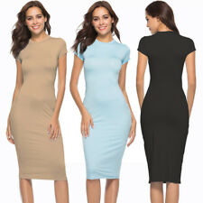 Women Sexy Knee Length Bodycon Tunic Wrap Dress Package Hip Summer Sheath Dress