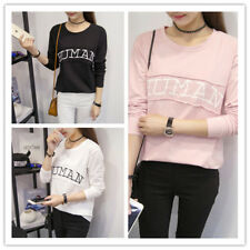 Women's Letter Print Patchwork O Neck Long Sleeve Pullover Jumper Sweatshirt