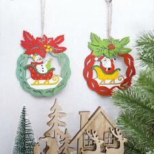 Wooden Christmas Tree Color Ring Ornaments Snowman Painted Pendant Home Decor US