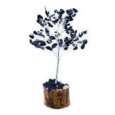 Natural Healing Stone Feng Shui Silver Golden Wire Bonsai Money Tree (7-8Inches)