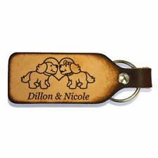 Puppy Love Couples Leather Keychain with Free Customization