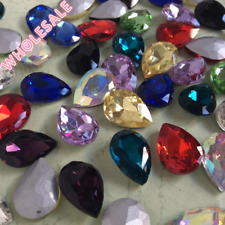 Wholesale Teardrop Pear Rhinestones Point back Mixed Colors Crystal Glass Strass