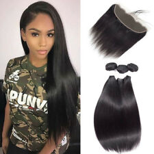 lace closure 4x13 with 3 bundles Brazilian Virgin Human hair Straight Extension