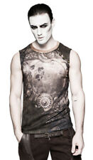 Top man brown with printed inner workings, steampunk rock Punk rave t-4