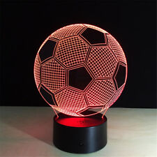 Football 3D Acrylic LED 7 Color Night Light Touch Table Desk Kid Sleeping Lamp