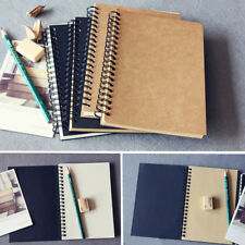 Retro Spiral Coil Notebook Sketchbook Student Diary Journal Note Pad Book