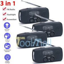 1~4PC Emergency Solar Hand Crank Dynamo AM/FM Weather Radio Torch Phone Charger