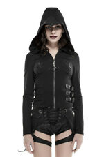 Hoodie webbing and sleeves long black back wings lacing Punk Rave
