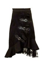 Black skirt with lace and three webbing/ straps Punk rave q-035 Punk rave