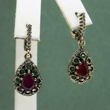 Deco 7.24ctw Ruby Emerald & White Sapphire 14K Yellow Gold/Sterling Earrings 14g
