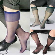Mens Sexy Nylon Traceless Middle Tube Crew Socks Sheer Mesh Breathable Stockings