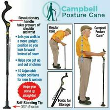 Campbell Posture Cane Walking Cane with Adjustable Heights Safety Walk Posture