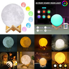 3D Print Starry Moon Lamp USB Colorful Change Touch Switch Night Light Xmas LOT