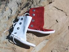 WOMEN's Dark Red or White 4 BUTTON THICK SOLE MOCCASINS