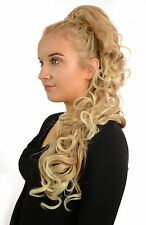 Long Curly Wavy Style Ponytail Drawstring Clip Hairpiece | Natural/Ombre Shades
