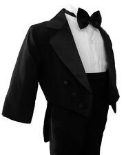 New Boy Black Tail Tuxedo Suit Size From Baby to Teen