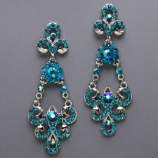 New Costume Chandelier Earrings! Fleur De Lei Flowers Bridal Jewelry