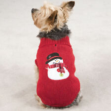 Dog Sweater Clothes Clothing Shirt Snowman RED