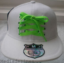NEW LIME LACE FITTED HIP HOP WHITE BASEBALL HATS CAPS
