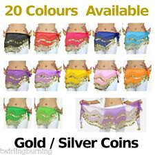 Belly Dance Gold/Silver Coin Belt 1.5m Hip Scarf Skirt Wrap Dancing Costume AB01