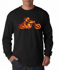 Flame Biker Skull Fire Skeleton Motorcycle Live Free Long Sleeve Tee Shirt