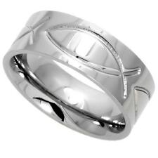 Stainless Steel CHRISTIAN FISH BAND RING rss139