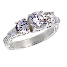 Sterling Silver Engagement CZ Ring w/ 6mm (1.0ct) Brilliant Cut Center CZ Stone